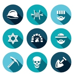 Set of concentration camp icons german vector