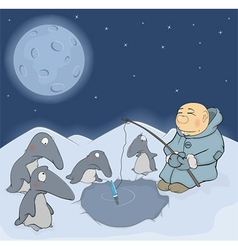The fisherman and penguins vector