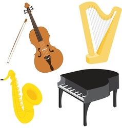 Cartoon music instruments set vector