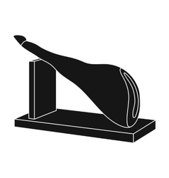 Traditional spanish jamon icon in black style vector