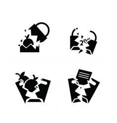 Shopping bags set break style icon design vector