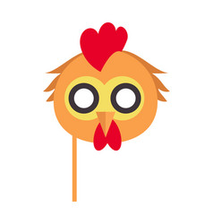 Cock bird carnival mask rooster chicken hen fowl vector
