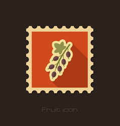 Currant flat stamp fruit vector