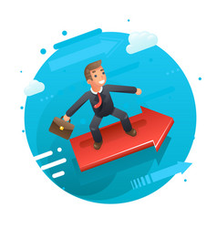 Businessman character riding on the infographic vector