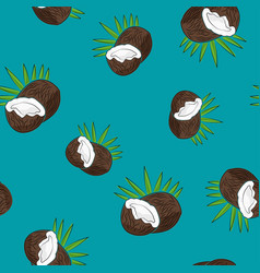 Seamless pattern  coconut on azure background vector