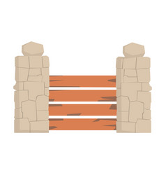 wooden fence with horizontal planks and stone vector image