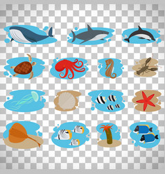 Sea animals set on transparent background vector