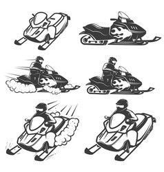 Set of snowmobile isolated on white background vector