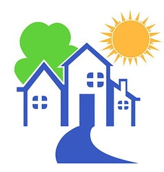 House with tree and sun logo vector