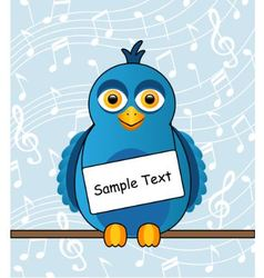 Blue bird with a sign vector