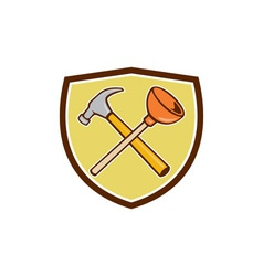 Crossed hammer plunger crest cartoon vector