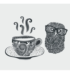 Retro of cute hipster owl vector