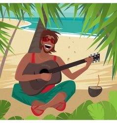 Guy sitting on a beach plays guitar and sings vector