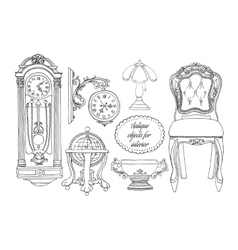 Hand drawn retro furniture set vector