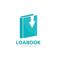 Book and down arrow logo concept vector