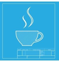 Cup of coffee sign white section of icon on vector