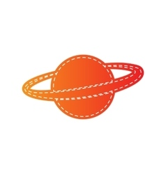 Planet in space sign orange applique isolated vector