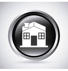 House in silver button isolated icon design vector