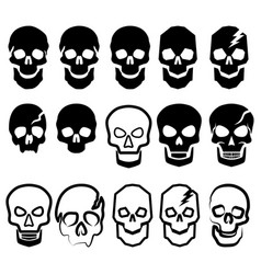 a set of black and white simple skulls vector image vector image