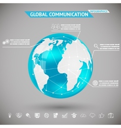 Abstract Infographics Global Communication with vector image vector image