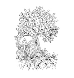Adult coloring book pageisolated fairy lady with vector image