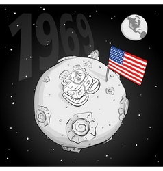 astronaut whith flag USA on the moon bw vector image vector image