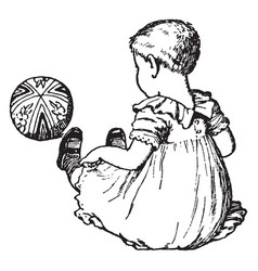 Baby girl and a ball in this picture vintage vector
