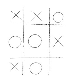 doodle tic tac toe XO game vector image vector image