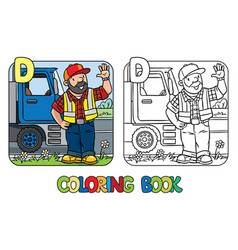 Driver coloring book profession abc alphabet d vector