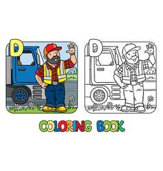 driver coloring book profession abc alphabet d vector image