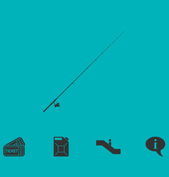 Fishing rod icon flat vector