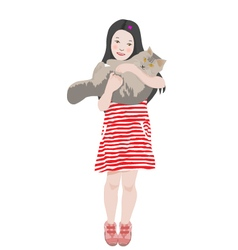 Girl holding her cat vector