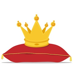 Golden crown on pillow vector image vector image