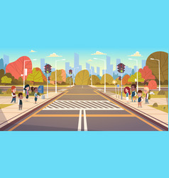 group of school children waiting for green traffic vector image
