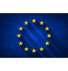 Grunge Flag Of Europe on crumpled paper background vector image