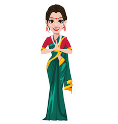 Indian girl standing with folded hands vector