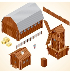 Isometric Wooden Cabins and House Clip Art vector image