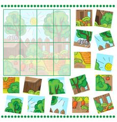 Jigsaw puzzle game with farm garden vector