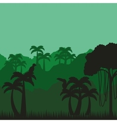 jungle tropical landscape icon vector image