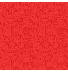 Line Christmas Red Tile Pattern vector image