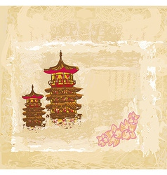 old paper with Japanese temple on abstract Asian vector image vector image