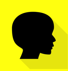 People head sign black icon with flat style vector