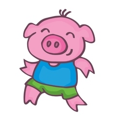 Running pig cartoon design kids vector