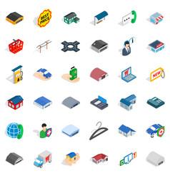 Safety deposit icons set isometric style vector