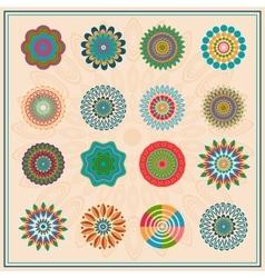 Set colored floral circular elements ornament vector image vector image