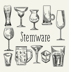 set of different drink beverage glasses stemware vector image vector image
