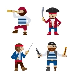 Set of funny pirates flat cartoon vector image
