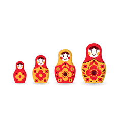 set of matryoshka russian nesting dolls vector image