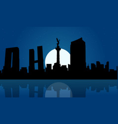 silhouette of mexico city at night landscape vector image