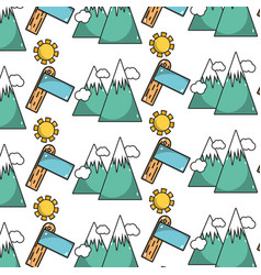 Snowy mountains with surfboard and sun with clouds vector